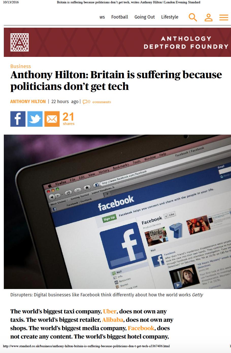 Evening Standard Column - Britain is Suffering because Politicians Don't Get Tech