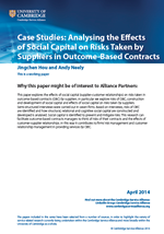 Effects of Social Capital on Risks Taken by Suppliers in Outcome-Based Contracts