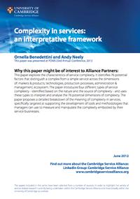 Complexity in Services: an interpretative framework