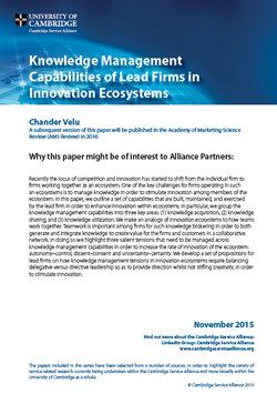 Knowledge Management Capabilities of Lead Firms in Innovation Ecosystems