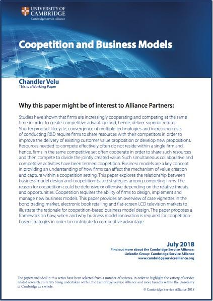 July Paper on 'Coopetition and Business Models' by Chander Velu